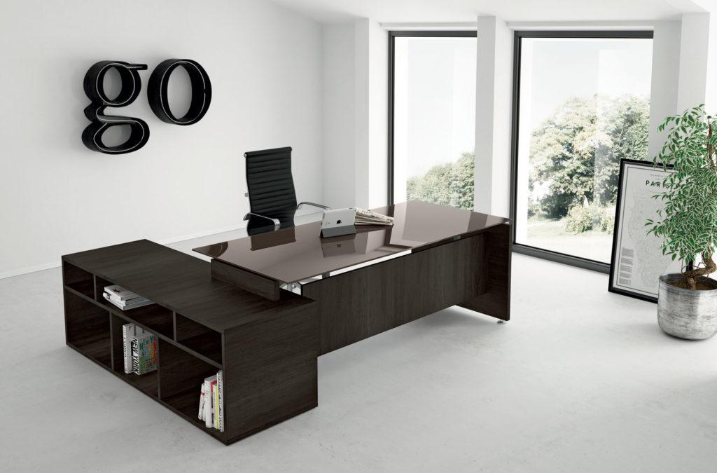 Scrivania piano vetro direzionale go arredamento per ufficio